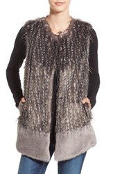 Parkhurst Women's Two Tone Faux Fur Vest Grey Mix