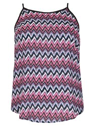 Samya Plus Size Chevron Printed Top Blue