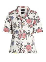 House Of Holland Floral Print Short Sleeved Denim Shirt White Multi
