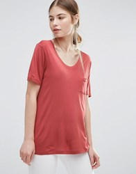 Just Female River T Shirt Marsala Red
