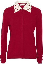 Valentino Leather Trimmed Wool And Cashmere Blend Cardigan Red