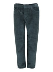Topman Teal Cord Wide Leg Cropped Pants