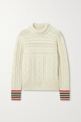 Burberry Striped Cable Knit Cashmere Turtleneck Sweater Beige