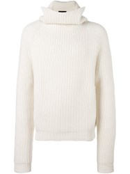 Haider Ackermann Ribbed High Collar Sweater White