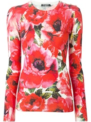 Balmain Rose Print Sweater