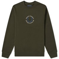 Fred Perry Embroidered Crew Sweat Green