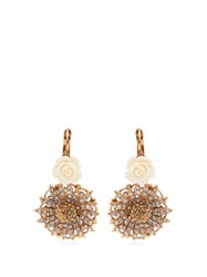 Dolce And Gabbana Crystal Embellished Rose And Daisy Earrings Gold