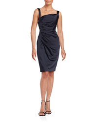 Vera Wang Ruched Satin Sheath Dress Navy