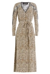 The Kooples Animal Printed Silk Dress With Lace Animal Prints