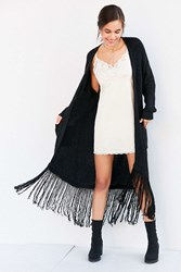 Astr Frances Fringe Duster Cardigan Black