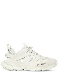 Balenciaga 30Mm Track Faux Leather And Mesh Sneakers White