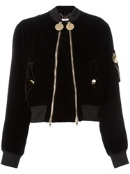Givenchy Double Zip Velvet Bomber Jacket Black