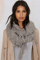 Nasty Gal Fringe With Benefits Infinity Scarf Gray