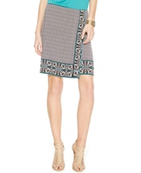 Studio M Geo Print Faux Wrap Pencil Skirt Black Capri Green Arrow Border