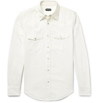 Tom Ford Slim Fit Denim Western Shirt White