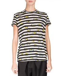 Proenza Schouler Short Sleeve Floral Striped Tee Multi Multi Pattern