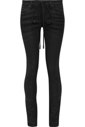 Off White Embroidered High Rise Skinny Jeans Black