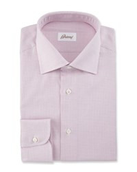 Brioni Satin Stripe Dress Shirt White Light Blue