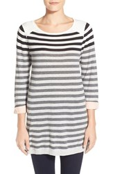 Women's Caslon Cuff Sleeve Cotton Blend Knit Tunic Black Stripe