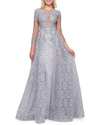 Mac Duggal Boat Neck 3 4 Sleeve Illusion Gown With Lace Overlay Platinum