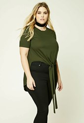 Forever 21 Plus Size High Low Self Tie Top Olive