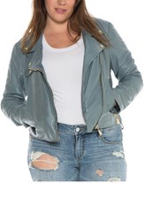 Slink Jeans Plus Size Women's Crop Leather Moto Jacket Grey