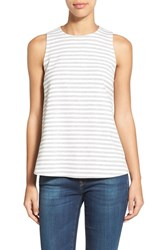 Women's Bobeau Stripe Sleeveless Swing Top Heather Grey Ivory Stripe