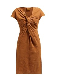 Loup Charmant Gilgo Cotton Gauze Mini Dress Brown