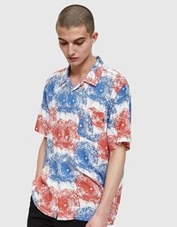Obey Shatterered Woven Shirt Red Multi