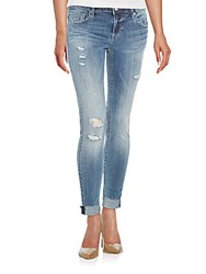 Vigoss Jagger Distressed Cuffed Skinny Jeans Medium Wash