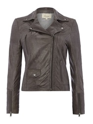 Linea Oil Wash Leather Jacket Grey