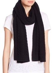 Saks Fifth Avenue Cable Knit Cashmere Scarf Grey Black
