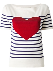 Marc Jacobs 'Breton Sequin Heart' Boat Neck T Shirt White