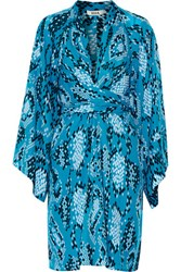 Issa Poppette Wrap Effect Printed Silk Georgette Dress Azure