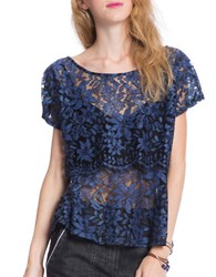 Plenty By Tracy Reese Lace Combo Top Indigo