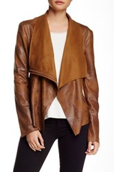 Bnci By Blanc Noir Vegan Suede Drape Jacket Brown