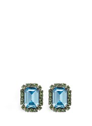 Kenneth Jay Lane Emerald Cut Stone Glass Crystal Pave Clip Earrings Blue