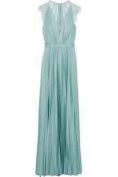 Catherine Deane Woman Nelia Lace Paneled Pleated Satin Gown Grey Green