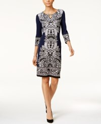 Jm Collection Petite Printed Keyhole Sheath Dress Blue