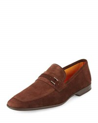 Magnanni Suede Buckle Square Toe Loafer Brown