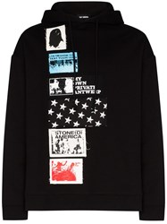 Raf Simons Appliqued Cotton Hoodie Black