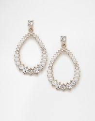 Oasis Pearl And Stone Oval Drop Earrings Cream