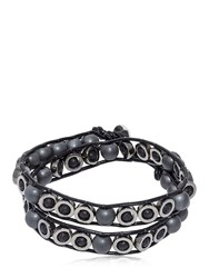 Colana Lava And Hematite Beads Wrap Bracelet Black