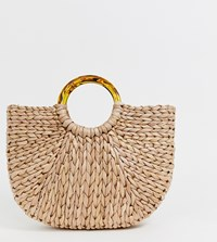 South Beach Half Moon Straw Bag With Tortoiseshell Handle Beige