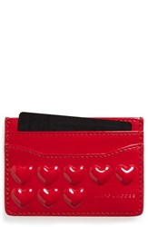 Women's Marc Jacobs Embossed Heart Leather Card Case