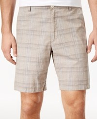 Tasso Elba Men's Space Dyed Plaid Shorts Khaki Combo