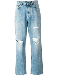 Golden Goose Deluxe Brand Distressed Straight Jeans Blue