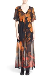 Junior Women's Mimi Chica Floral Print Flutter Sleeve Maxi Dress