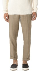 Vince Cropped Hemp Trousers Pebble Taupe