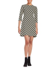 Taylor Jacquard Fit And Flare Dress Black Cream